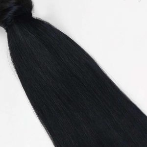 Human Hair Pony Tail 18″ #1 Jet Black