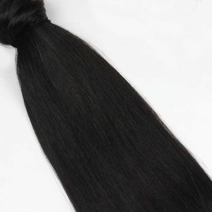 Human Hair Pony Tail 18″ #1B Off Black