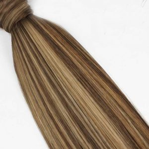 Human Hair Pony Tail 18″ #2/10 Chocolate & Caramel Swirl