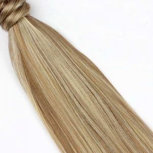 Human Hair Pony Tail 18″ #613/10 Sunkissed Highlight Mix
